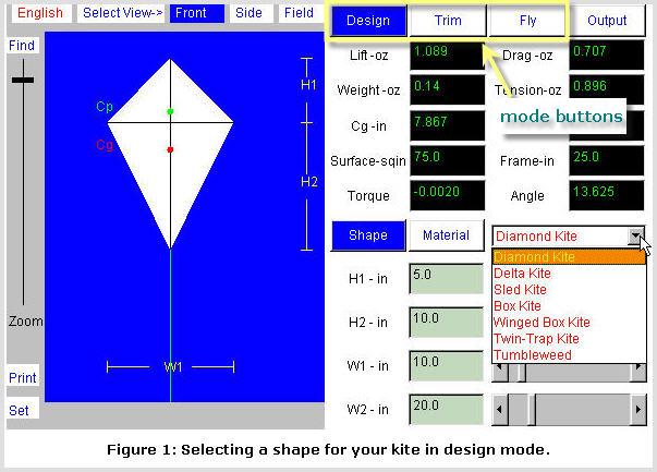 Kite Simulator screenshot: Design Mode #1