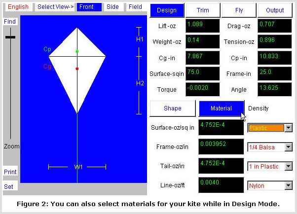 Kite Simulator screenshot: Design Mode #2