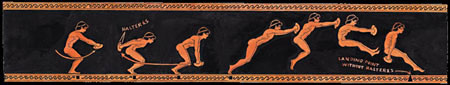 Greek illustration of a man performing a standing long jump using a halteres