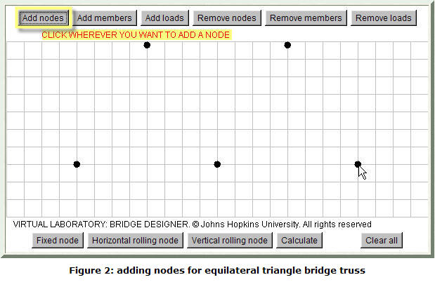 Figure 2: adding nodes for equilateral triangle (Warren) bridge truss