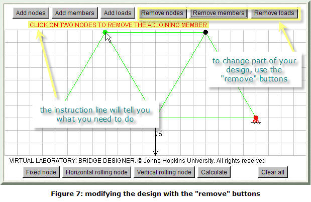 Figure 7: modifying the design with the 'Remove' buttons