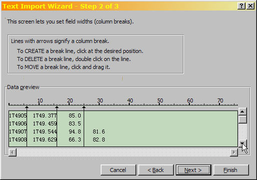 Excel Text Import Wizard Step 2 of 3, showing the fourth data column starting at row seven.