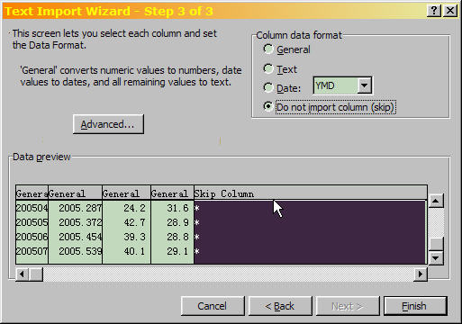 Excel Text Import Wizard Step 3 of 3, making sure that asterisks are separated from sunspot numbers.