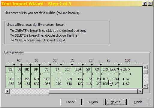 Excel Text Import Wizard Step 2 of 3, showing the added column breaks.