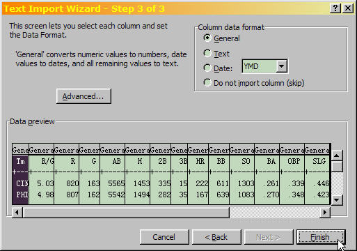 Excel Text Import Wizard Step 3 of 3, selecting data formats for each column.
