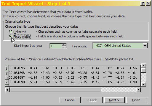 Excel Text Import Wizard Step 1 of 3, with file type 'Fixed width' selected.