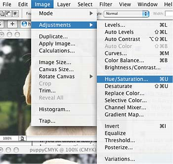 Adjusting hue and saturation in Adobe Photoshop