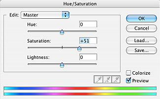 Moving sliders to adjust the hue, saturation, lightness of an image