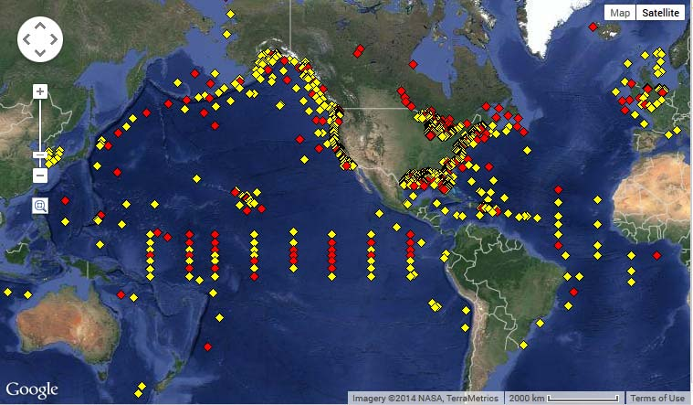 National Data Buoy Center world map.