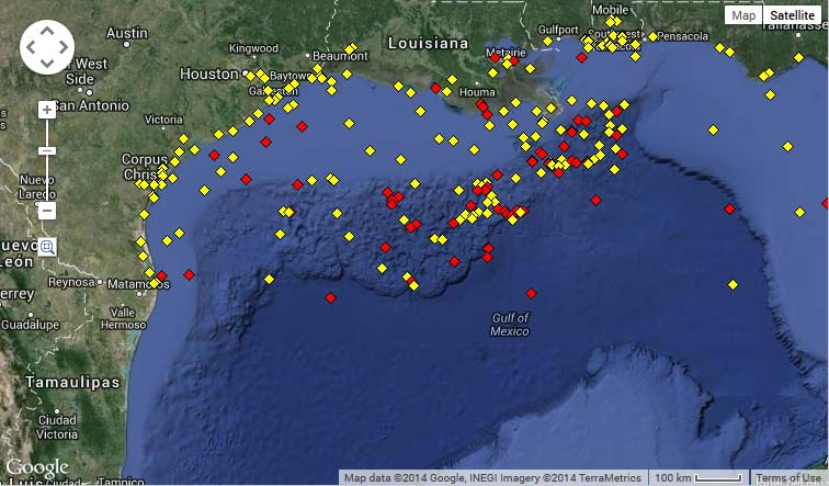 National Data Buoy Center western Gulf of Mexico map.