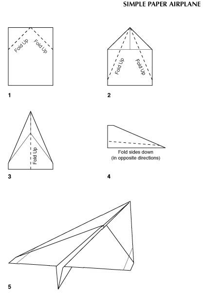 Diagram shows how to fold a sheet of paper into a paper airplane