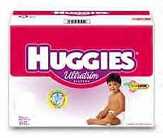 A box of Huggies brand diapers