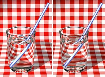 refraction by liquids: two glasses with straws