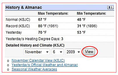 Screenshot of the history and almanac section of the website wunderground.com