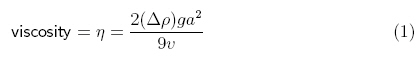 viscosity equation for falling sphere