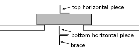schematic front view of brick and hanger apparatus