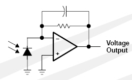 Circuit diagram of a light-to-voltage converter