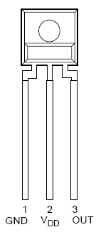 Diagram of a photodiode sensor with three leads for ground, positive supply voltage and output voltage