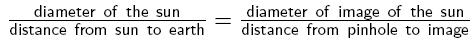 Equation for measuring the diameter of the sun using a pinhole and ruler