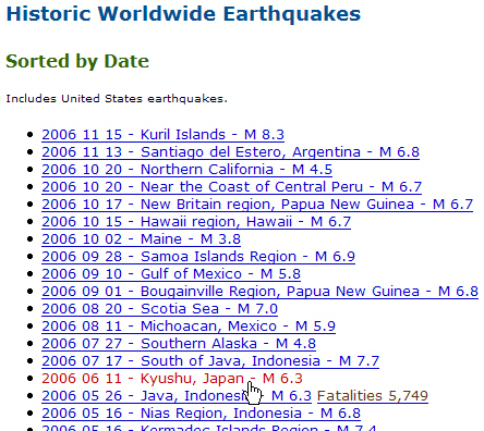 partial screenshot of USGS Historic Worldwide Earthquakes webpage