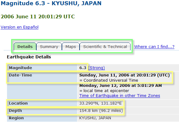 partial screenshot of a USGS Historic Worldwide Earthquakes quake details page