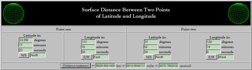Screenshot of a webpage used to calculate the distance between two coordinate points on the website chemical-ecology.net