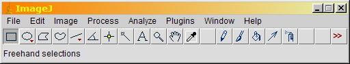 Screenshot of the menu bar in the program ImageJ