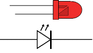 a red LED (top) and the schematic symbol for an LED (bottom)