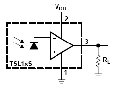 Circuit schematic for a light-to-voltage converter