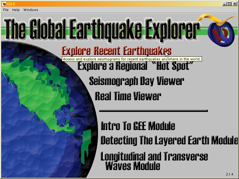 Global Earthquake Explorer startup screen