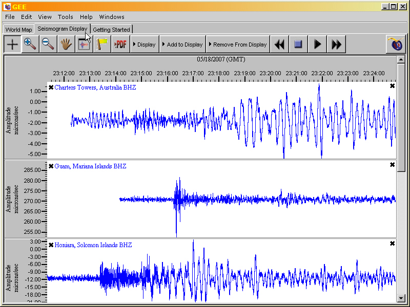example of the seismogram display tab with three seismograms displayed