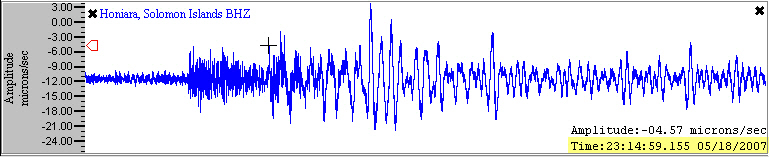 example seismogram from the Global Earthquake Explorer program