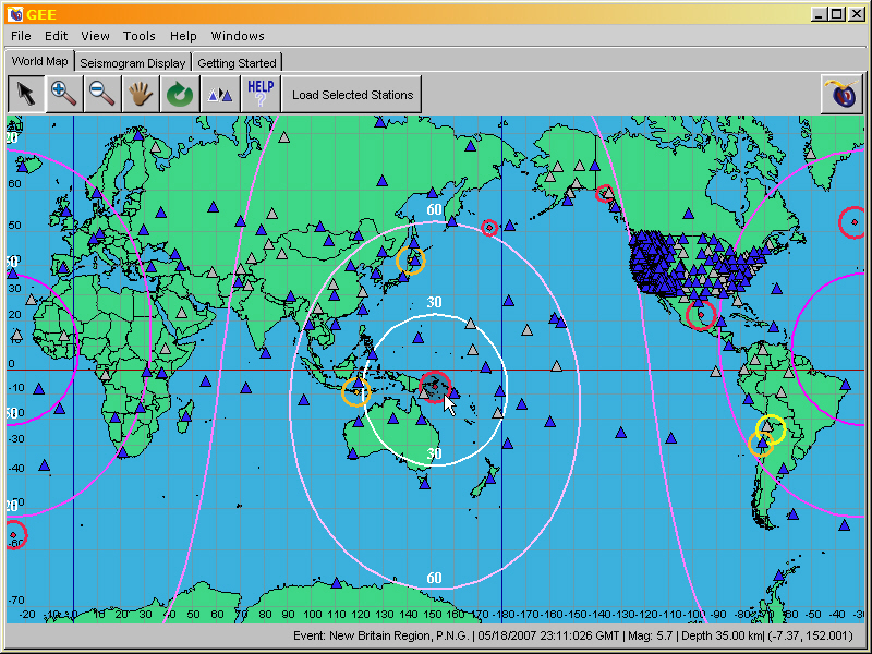 Screenshot of a world map in the program Global Earthquake Explorer