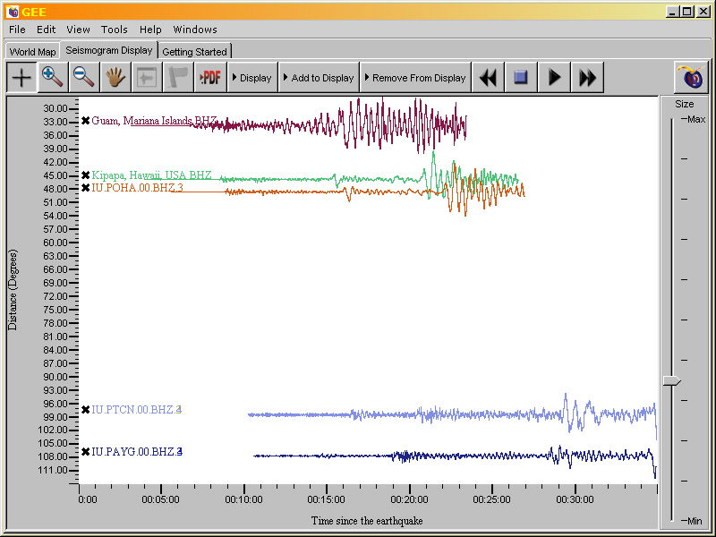 example of the seismogram display tab with five seismograms displayed