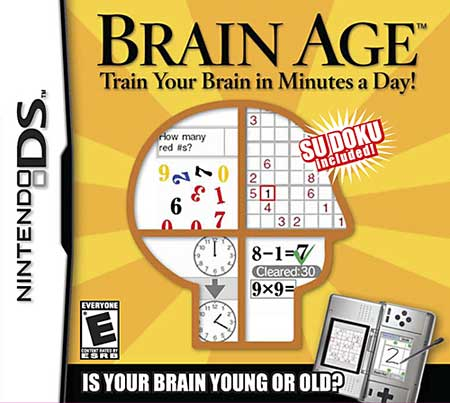 Cover of the video game Brain Age for the Nintendo DS