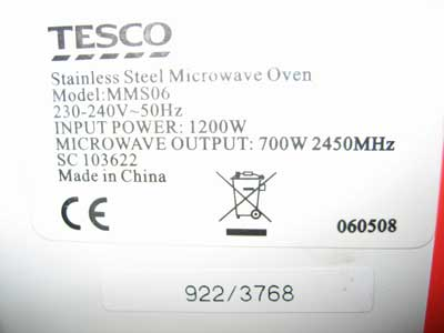 Example Of A Microwave Oven Label Showing The Frequency Radiation 2450 Mhz Hood 2007