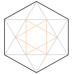 Alternating corners of a hexagon are connected to form two triangles