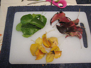 Piles of green, yellow, and red leaves rest on a cutting board