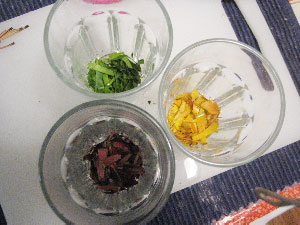 Green, yellow and red leaves are cut into small pieces and placed in glass cups based on their color