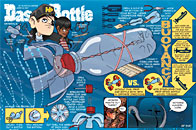 A Howtoons cartoon infographic shows how to create submarine from a plastic bottle