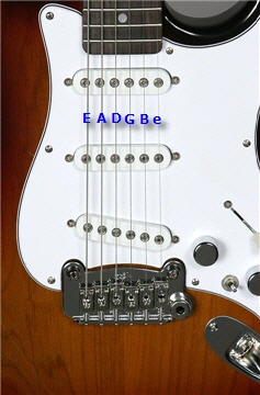 Detail view of an electric guitar, showing the bridge and pickups.