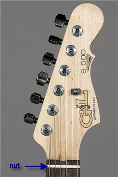 Detail view of an electric guitar headstock, showing the nut and tuning machines.