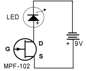 Electricity  Science Project circuit diagram for a solid-state charge detector