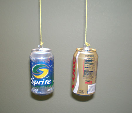 Aerodynamics Science Project hanging cans with top of tin can bent