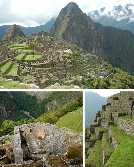 Three photos of Machu Picchu show stone structures that have lasted hundreds of years