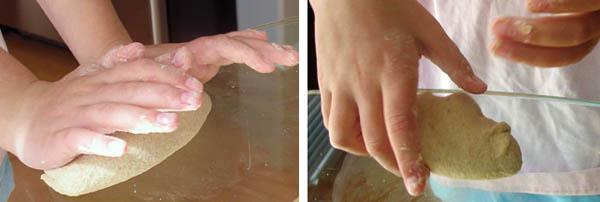 Side-by-side photos showing the pushing (with the palms) and pulling (with the fingertips) process of kneading.