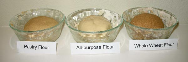 Photo showing three smooth, elastic balls of dough in three, small bowls.