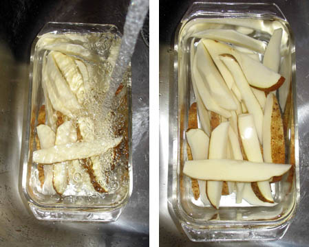 Side-by-side photos showing potato wedges being rinsed under water on the left, and soaked under cold water on the right.