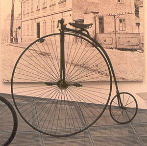 A penny-farthing bicycle.