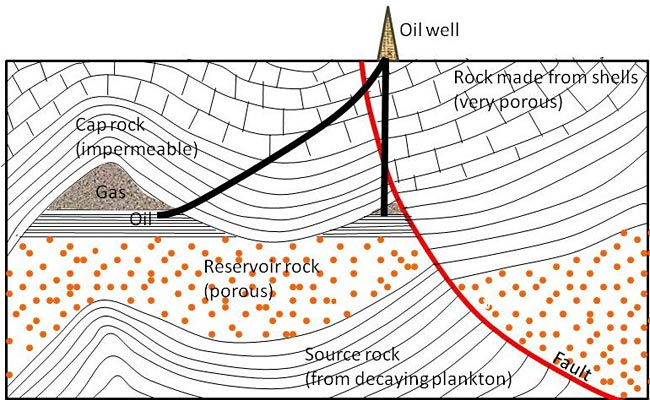 Geology Science fair project This drawing shows a cross-section of the Earth with an oil well at the surface above an earthquake fault and layers of sedimentary rock.  Starting at the surface and moving down, you see first very porous rock made from shells, then cap rock, then trapped natural gas and oil (that the oil well is tapping into), and below that, porous reservoir rock, and finally source rock from decaying plankton.